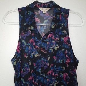 DECREE Sleeveless Button-Up Floral Top, size XL
